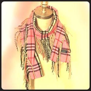 BURBERRY cashmere fringe scarf